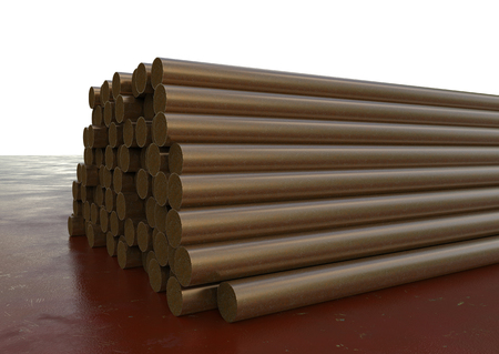 round rods: 3d rendering heap of rusty pipes