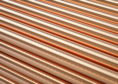 copper background: 3d rendering copper pipe background Stock Photo