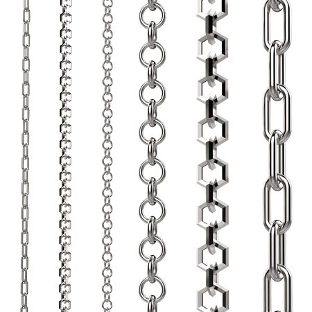 interlink: 3d rendering silver chain isolated on white