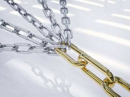 3d rendering many chains connected for strong
