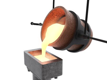 smelter: 3d rendering molten metal pouring into mould isolated on white