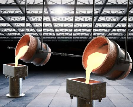 smelter: 3d rendering molten metal pouring into mould Stock Photo