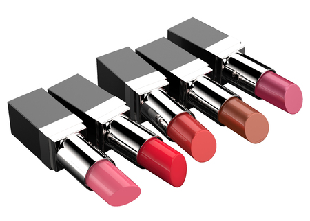 3d rendering five shades of lipstick