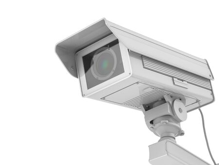 deterrent: 3d rendering white cctv camera or security camera isolated on white