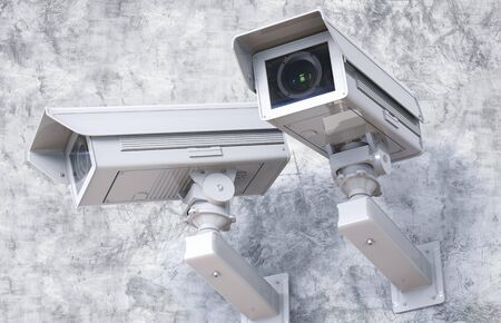 public safety: 3d rendering cctv camera or security camera on cement background Stock Photo
