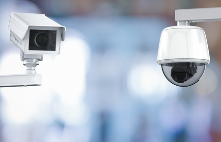 deterrent: 3d rendering cctv camera or security camera on retail shop blurred background Stock Photo