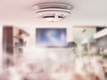 Rendu 3d détecteur de fumée au plafond Banque d'images - 63132308