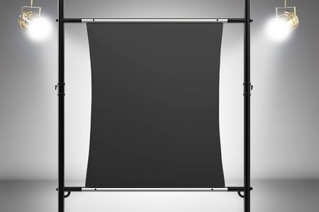 metal pipe: 3d rendering black canvas stretch on metal pipe Stock Photo