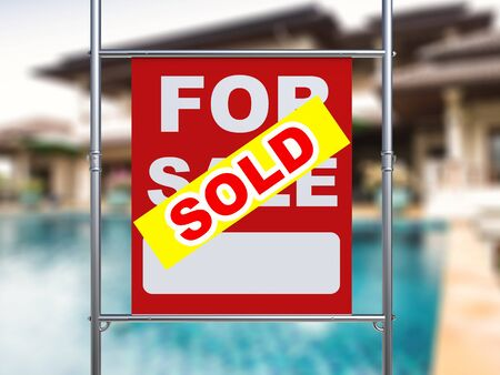 metal pipe: 3d rendering sold house sign hanging with metal pipe Stock Photo