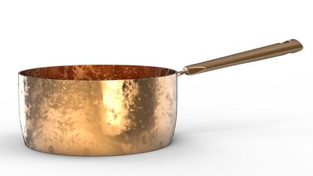 saucepan: 3d rendering empty copper saucepan