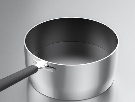 saucepan: 3d rendering empty saucepan
