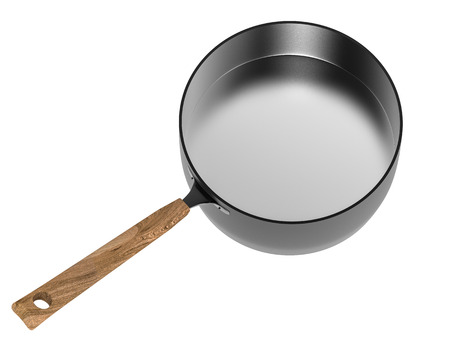 saucepan: 3d rendering empty black saucepan