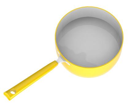 saucepan: 3d rendering empty yellow saucepan Stock Photo