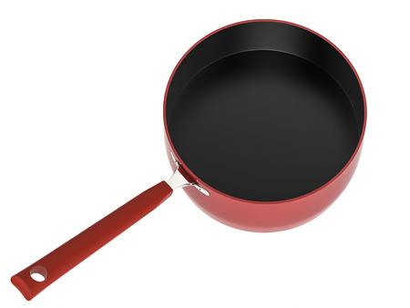 saucepan: 3d rendering empty red saucepan