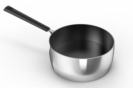 saucepan: 3d rendering empty saucepan on white background Stock Photo