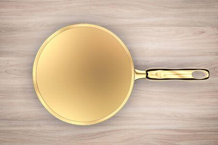 saucepan: 3d rendering empty golden saucepan