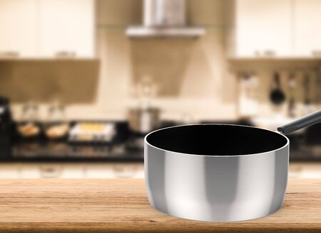 steel pan: 3d rendering empty sauce pan on kitchen background