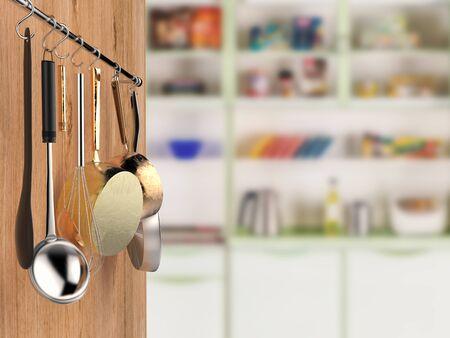 steel pan: 3d rendering kitchen rack hanging with kitchen background Foto de archivo