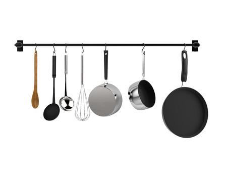 3D-rendering keuken rack opknoping met keukengerei op wit wordt geïsoleerd