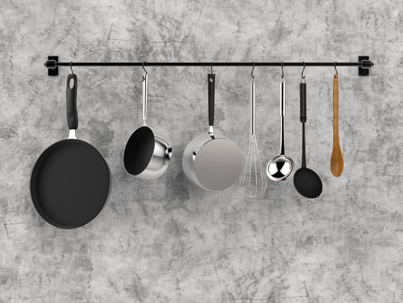 3d rendering kitchen rack hanging with kitchen utensils