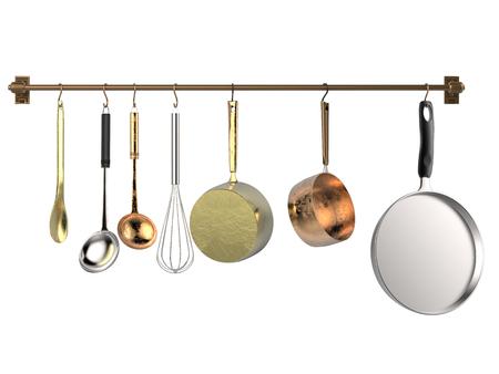 3D rendering cremagliera appesa con utensili da cucina isolato su bianco Archivio Fotografico