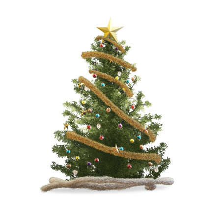 gold tree: 3d rendering christmas tree and christmas ornaments