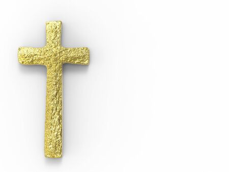 gold cross: gold cross with blank space on white background