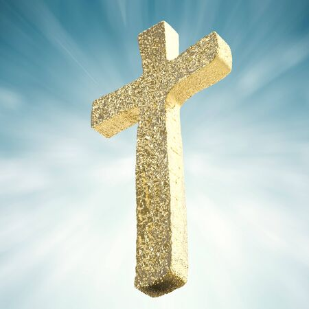 gold cross: gold cross on blue background Stock Photo