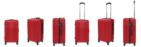 3d rendering red hard case luggage isolated on white