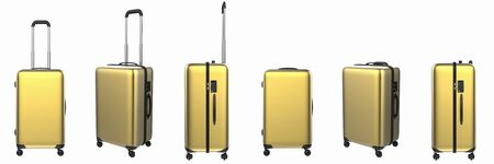 3d rendering gold hard case luggage isolated on white Stock Photo