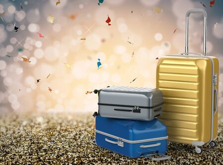 3d rendering hard case luggages on glitter background Stock Photo