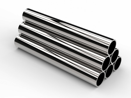 shiny metal background: 3d rendering heap of shiny metal pipes on white background