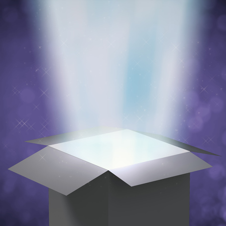 ray of light: 3d rendering magic box with ray light