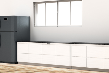 kitchen cabinets: 3d rendering kitchen interior with cabinets and refrigerator