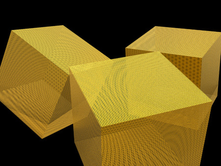 sifter: 3d rendering golden cube on black background
