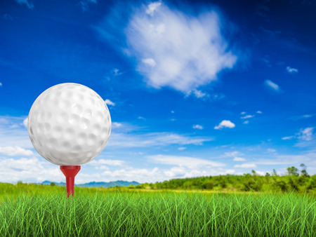 dimple: 3d rendering golf ball on tee side view