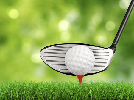 3d rendering golf club with golf ball on tee side view Stock Photo