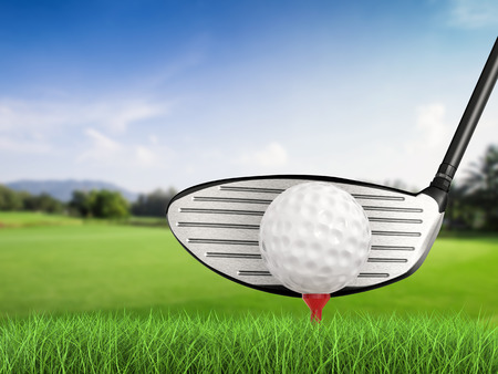 dimple: 3d rendering golf club with golf ball on tee side view Stock Photo