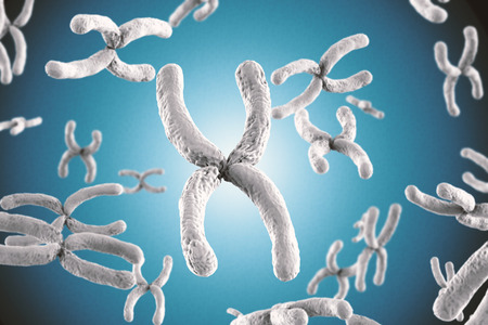 3d rendering white chromosome on blue background