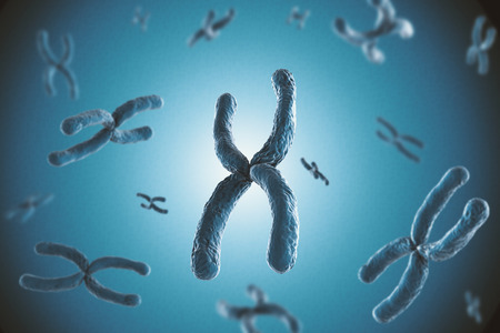 3d rendering blue chromosome on blue background
