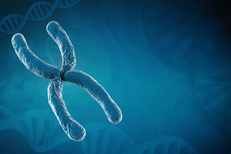 3d rendering blue chromosome on blue background