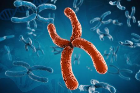 chromosome: 3d rendering red chromosome on blue background