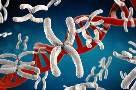3d que rinde el cromosoma blanco con hélice de ADN en el fondo azul