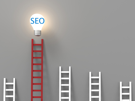 keyword research: seo concept or search enging optimization concept with idea light bulb Stock Photo