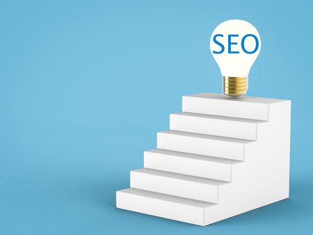 metasearch: seo concept or search enging optimization concept with idea light bulb Stock Photo