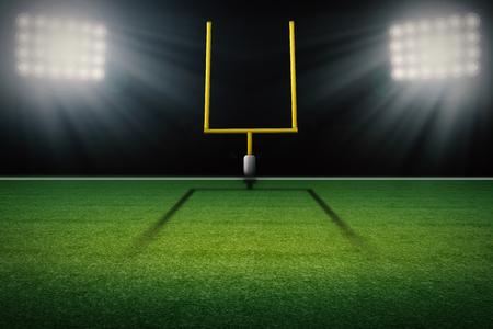 Representación 3D americano poste de la meta campo de fútbol