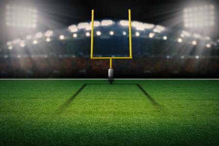 3 d レンダリング アメリカン フットボールのフィールド ゴール ポストします。 写真素材