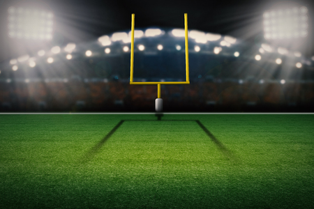 Representación 3D americano poste de la meta campo de fútbol Foto de archivo