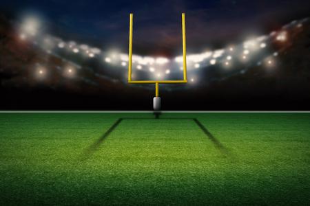 3d rendering américain poteau de but sur le terrain de football