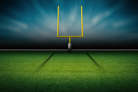 3d rendering american football field goal post